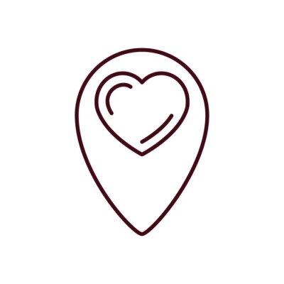 Isolated heart gps mark line vector design