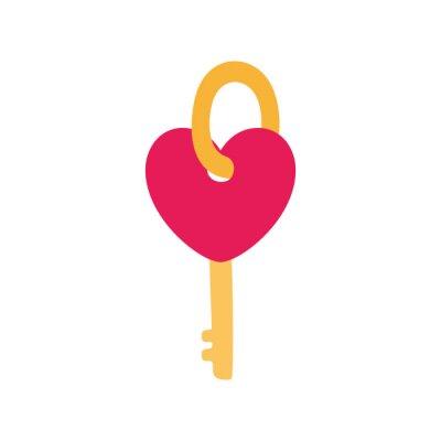 Isolated heart key vector design