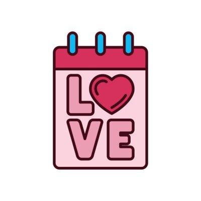 Isolated love calendar icon fill vector design