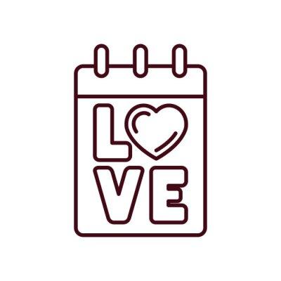 Isolated love calendar icon line vector design
