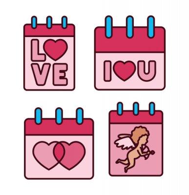 Isolated love calendars icon fill vector design