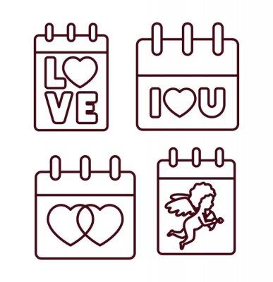Isolated love calendars icon line vector design
