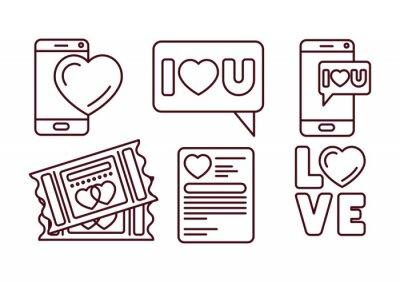 Isolated love icon set line vector design