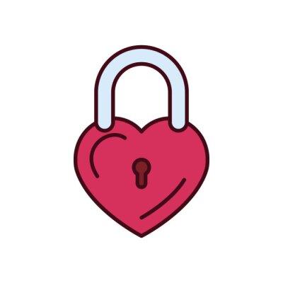 Isolated love padlock fill vector design