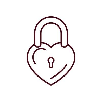 Isolated love padlock line vector design
