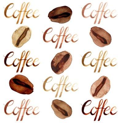 Картина Изолированная акварель проиллюстрировала и покрасила коричневые кофейные зерна и комплект картины литерности