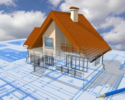 Изометрические вид жилой дом на архитектора рисунок.