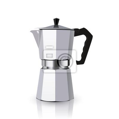 Итальянский металлический кофе, изолированных на белом фоне. кофейник Mocha для приготовления кофе эспрессо. Вектор гейзер кофе иллюстрации.
