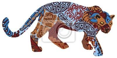 Jaguar в этническом картины индейцев