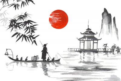 Картина Япония Традиционная японская живопись Суми-э искусство Япония Традиционная японская живопись Суми-э арт Человек с лодкой
