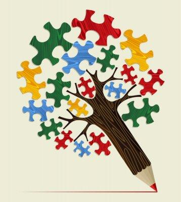 Картина Головоломка стратегическое дерево концепция карандаш