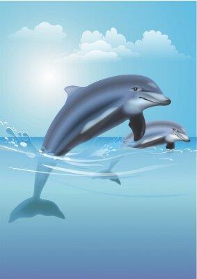 Картина Прыжки дельфинов Иллюстрация