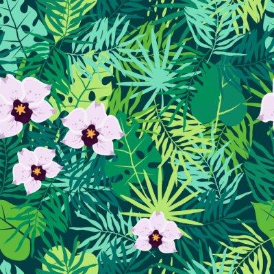 Картина Бесшовный фон из джунглей с тропическими листьями и орхидеей.