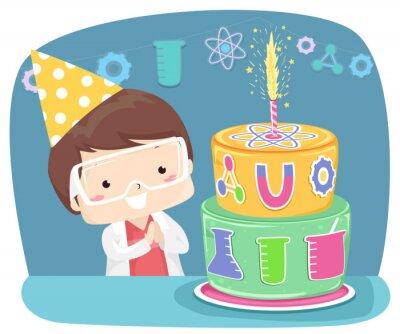 Kid Boy Birthday Cake Science Lab Illustration