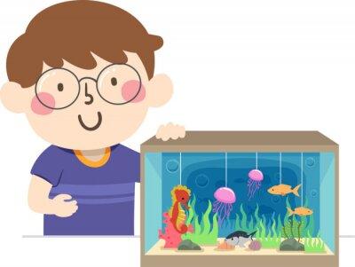 Kid Boy Marine Ecosystem Diorama Illustration