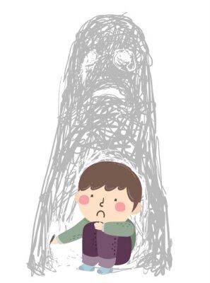 Kid Boy Sad Scribble Disturbing Image Illustration