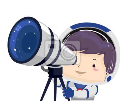 Kid Boy Космический телескоп Иллюстрация