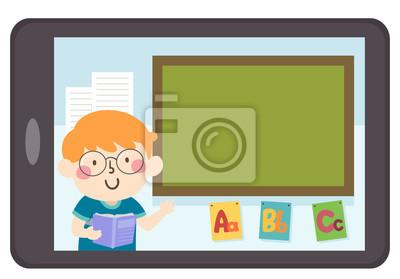 Kid Boy Tablet Teach Blackboard Illustration