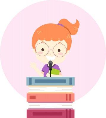Kid Girl Books Lectern Speech Illustration