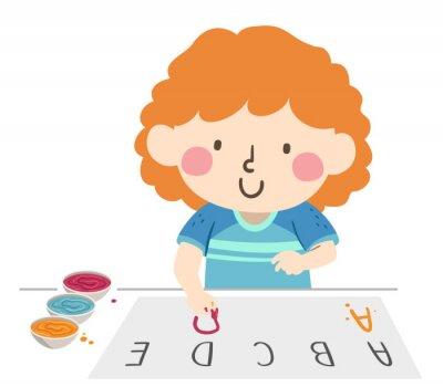 Kid Girl Finger Paint Letter Illustration