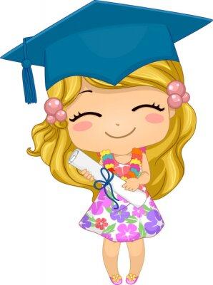 Kid Girl German Preschool Graduate Illustration