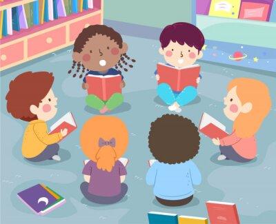 Kids Class Group Reading Aloud Illustration