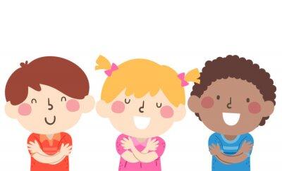 Kids Hug Yourself Illustration