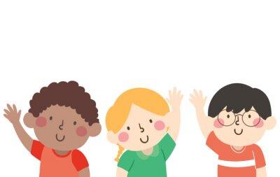 Kids Pose Waving Illustration