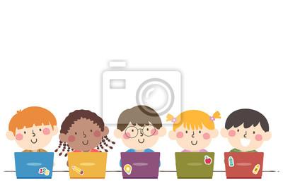 Kids Students Group Laptop Illustration