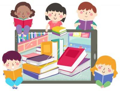 Kids Tablet Books Read Ebook Illustration