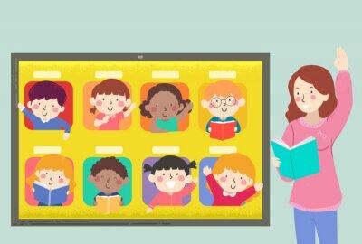Kids Tablet Teacher Virtual Class Illustration