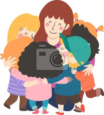 Дети Учитель группы Hug Иллюстрация