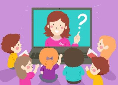Kids Teacher Online Laptop Discussion Illustration