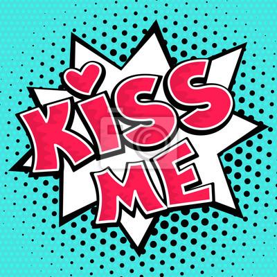 Поцелуй надпись на фоне точек. Вектор комиксов иллюстрация в стиле поп-арт ретро.