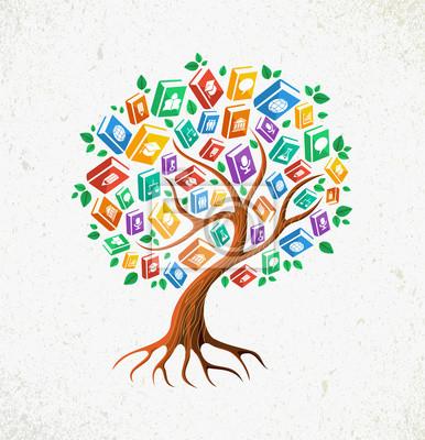 Знания и образование концепция дерево книги