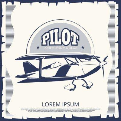 Картина Дизайн этикетки - старинный плакат-самолет