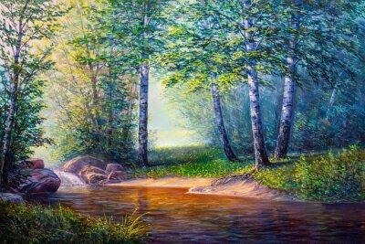 Картина пейзажная живопись водопада