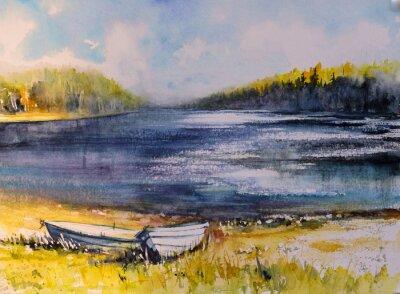 Картина Пейзаж с рыбацкими лодками на берегу озера. Картина создана акварелью.