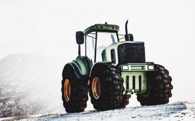 Картина Большой тяжелый зеленый трактор на горе