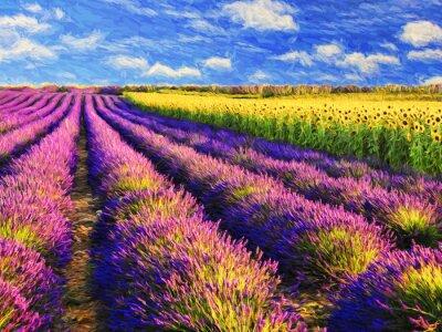 Картина Лаванда и подсолнухи поле.