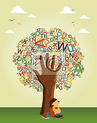 Учитесь читать на школьного образования дерева стороны