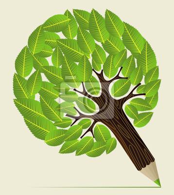 Листья концепция карандаш дерево