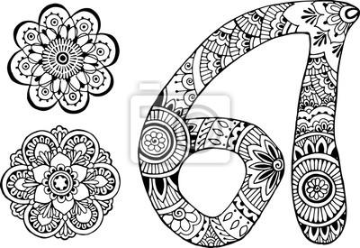 буква А оформлен в стиле Менди