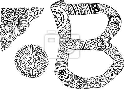 буква B оформлен в стиле Менди