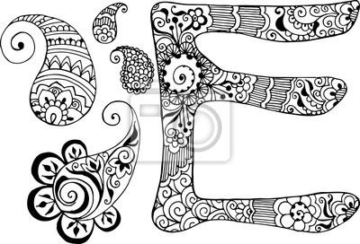 буква Е оформлен в стиле Менди