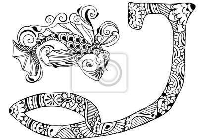 буква J оформлен в стиле Менди