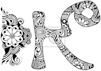 буква K оформлен в стиле Менди