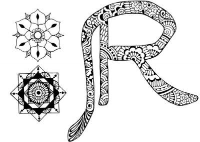 Картина буква R оформлен в стиле Менди