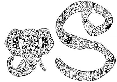 Буква S оформлен в стиле Менди