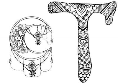 буква Т оформлен в стиле Менди